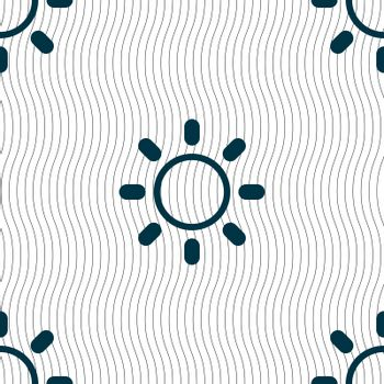 Brightness icon sign. Seamless pattern with geometric texture. Vector
