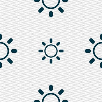 Brightness icon sign. Seamless abstract background with geometric shapes. Vector
