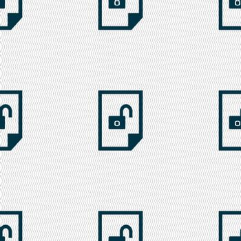 file unlocked icon sign. Seamless abstract background with geometric shapes. Vector