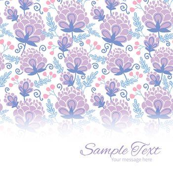 Vector soft purple flowers horizontal border card template graphic design