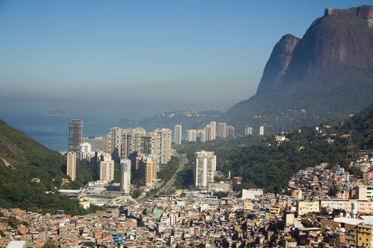 Favela Rocinha, biggest slum in Rio de Janeiro, Conrado behind