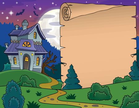 Parchment with haunted house thematics 5