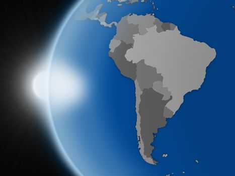 Sunset over south american continent from space
