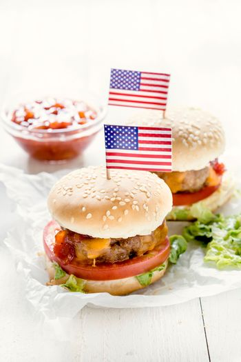 Mini beef burger with American flag