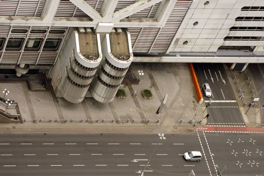 Berlin, Germany - April 08, 2015: An intersection with road and an underpass on the buildings of the Berlin Exhibition Grounds on April 08, 2015 in Berlin.