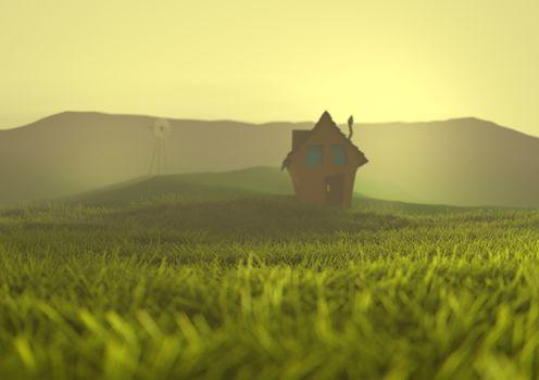 Desolate Farmhouse on Grassland