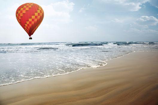 Air balloon over the sea