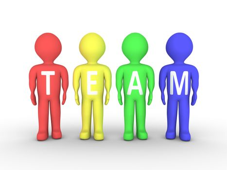 People are painted with different color and form the word TEAM