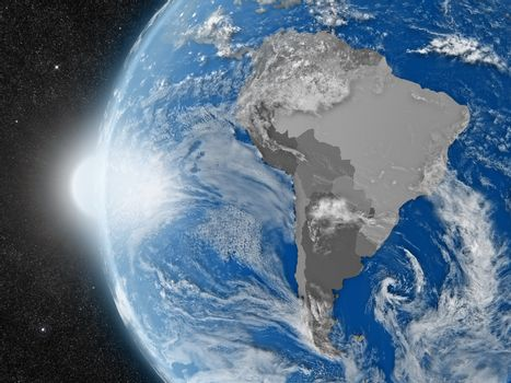 south american continent from space