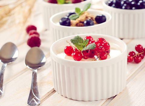 Soft vanilla cream and current
