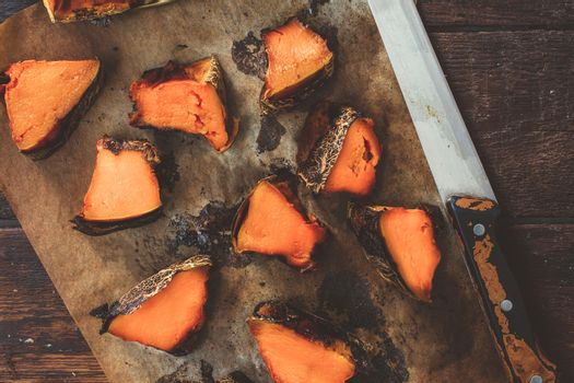 Sliced grilled pumpkin