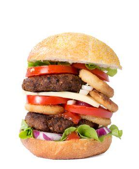 Juicy beef burger isolated