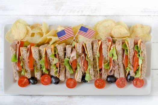 Served club sandwiches