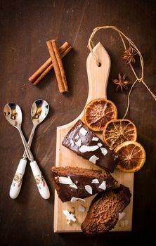 Chocolate cake slices