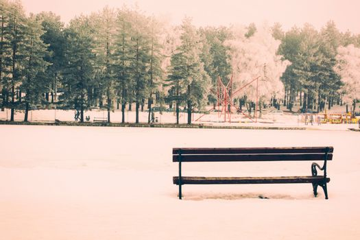 Bench in the winter time