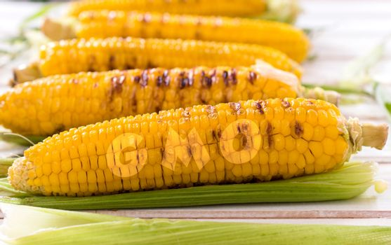 Grilled young corns