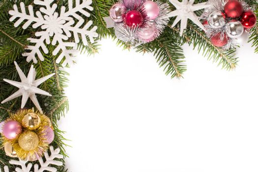 Traditional Christmas decoration on white background