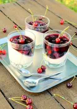 Panna cotta and cherries