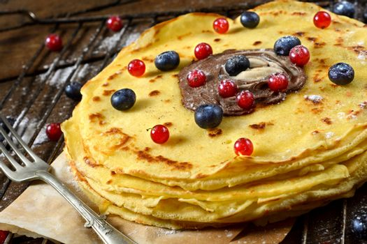 Berry fruit and pancakes