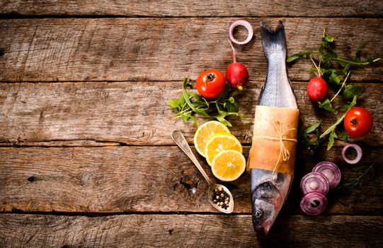 Bass fish and ingredients