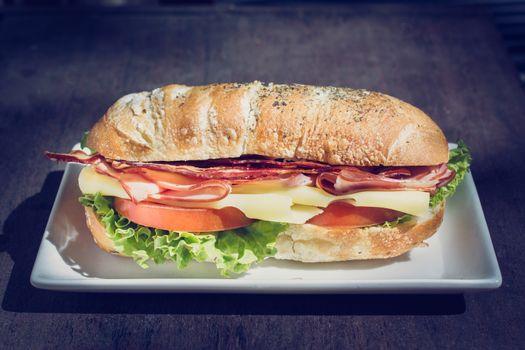 Sandwich meal in plate