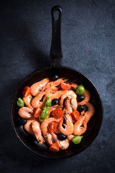 Tiger shrimps in pan