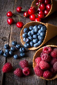Fresh fruits in cone