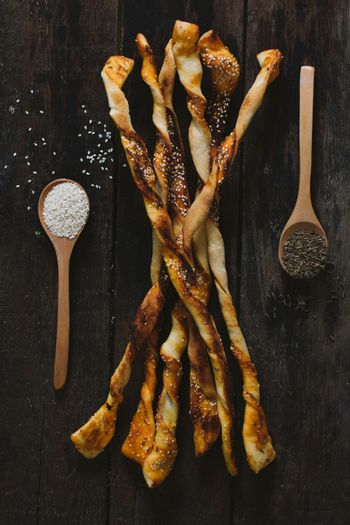 Pastry with sesame and chime