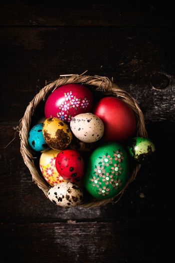 Easter eggs in the basket from above,selective focus