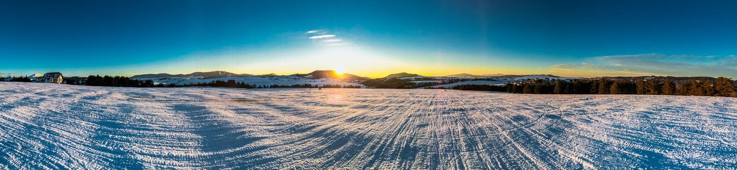 panorama of mountain landscape winter