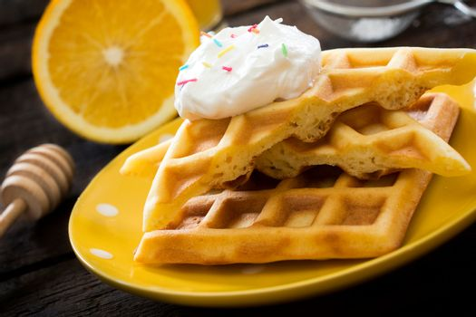 Waffles in the plate