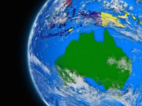 Australian continent on political globe