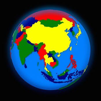 southeast Asia on political Earth