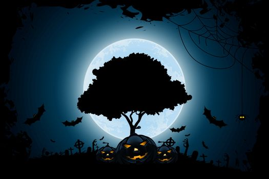 Halloween Background with Pumpkin and Tree