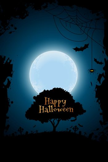 Halloween Background with Graveyard and Tree