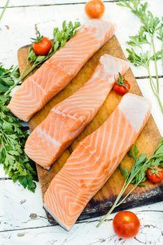 Preparing salmon fish