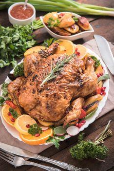Served roasted turkey