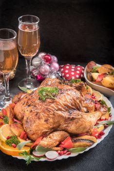 Wine and roasted turkey