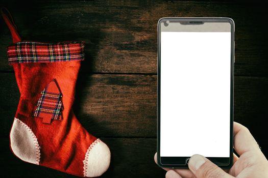 Christmas sock and blank screen