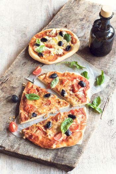 Served vegetarian pizza