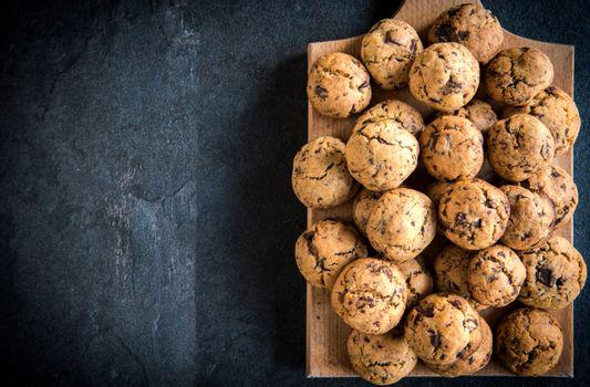 Homemade mini cookies with dark chocolate,blank space