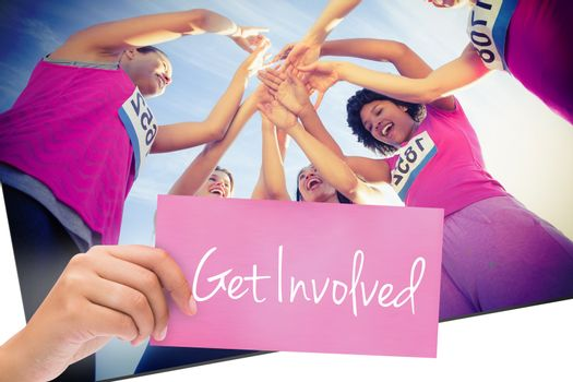 Get involved against five cheering runners supporting breast cancer marathon