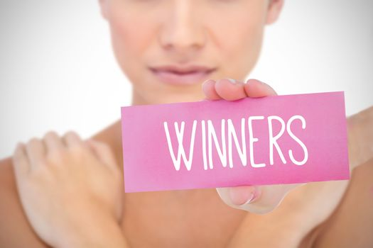 Winners against white background with vignette