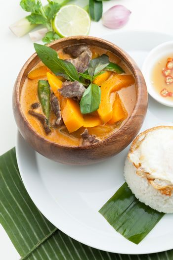 Thai pumpkin red curry with beef and basil.