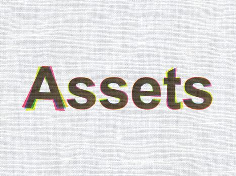 Currency concept: Assets on fabric texture background