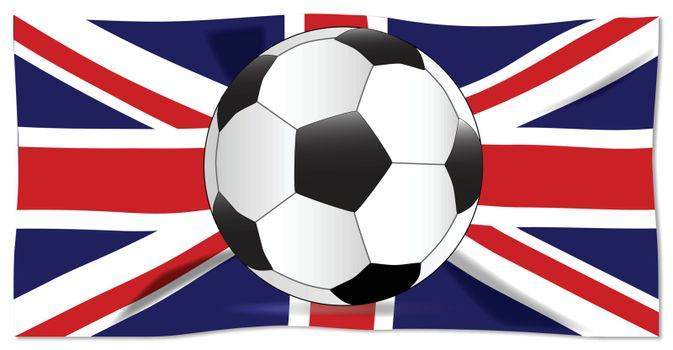 A typical soccer football over the Union Jack flag isolated over a white background.