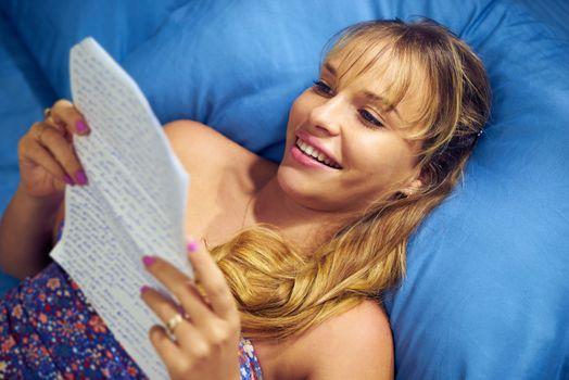 Girl In Love Reading Letter From Boyfriend