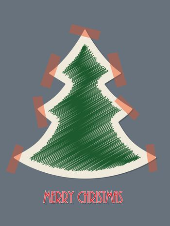Christmas greeting card with red tapes
