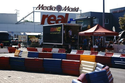 Mainz, Germany - August 28, 2015: A motorsport event from BMG Motorsport in the parking lot of the Gutenberg Center on August 28, 2015 in Mainz.