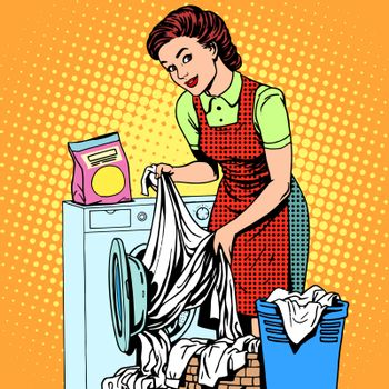 woman washes clothes washing machine